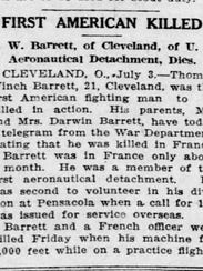 Notice of Thomas Winch Barrett's death in the July