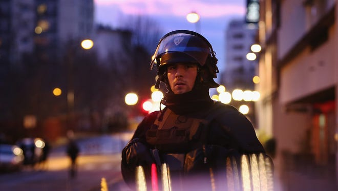 Police mobilize at the hostage situation on Jan. 9, 2015 in Paris, France.