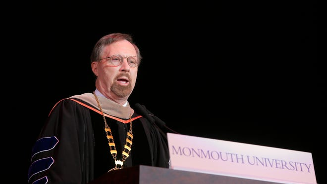 Paul R. Brown, Ph.D., president of Monmouth University, speaks during the Monmouth University Commencement at the PNC Bank Arts Center in Holmdel Friday May 13, 2016.