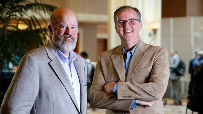 Terry Jones, left, founder of Travelocity and Kayak, and now WayBlazer, with John Ische, of Trisept Solutions at Mandalay Bay Resort and Casino in Las Vegas, Nevada, Tuesday, Oct. 25, 2016.