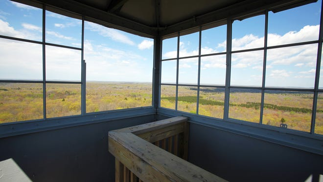 The Mountain Fire Lookout Tower in Oconto County provides sweeping views of the surrounding Chequamegon-Nicolet National Forest.