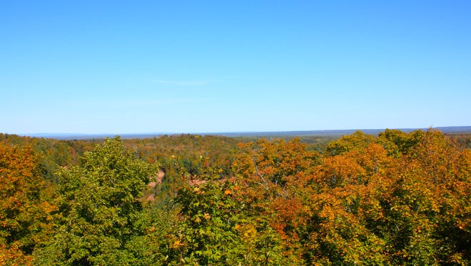 An observation tower at Copper Falls State Park in Mellen provides stunning views of the changing leaves in fall.