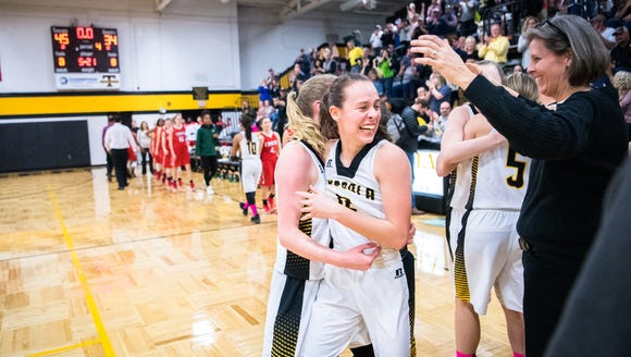 The Tuscola girls basketball team celebrates after