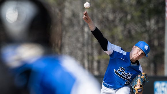 Polk County's Avery Edwards throws a pitch to Mountain