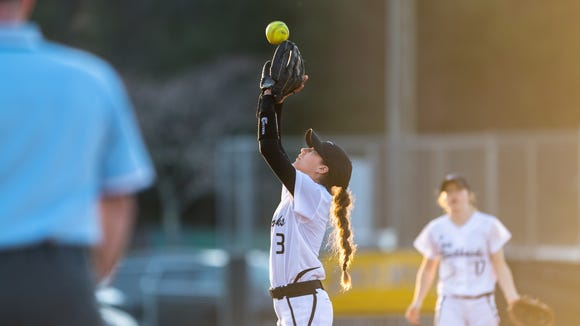 North Buncombe's Abigail Cook makes a catch for an