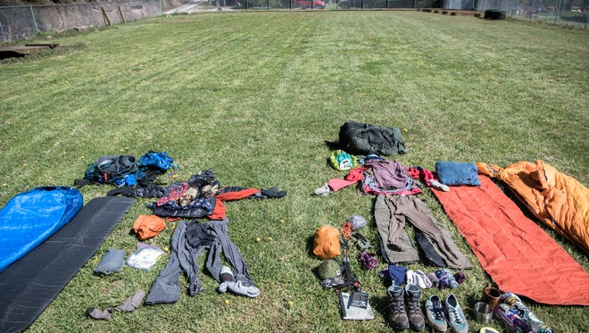 The contents of packs used by students at Southwestern Community College in the Outdoor Leadership program when on their expeditions.