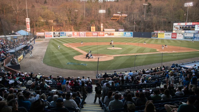 The Asheville Tourists opening day game against the Columbia Fireflies was Thursday, April 12, 2018, drawing fans back for the 2018 season.