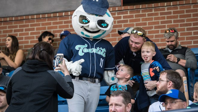 The Asheville Tourists will host a job fair Thursday Feb. 28 searching for about 30 seasonal employees, including two performers to be team mascots, Mr. Moon, pictured in April 2018, and Ted E. Tourist.