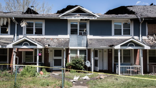 The remains of one of the Hillcrest apartment buildings in Asheville after a fire early Saturday morning.