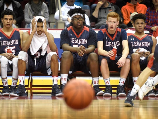 The Lebanon starters sit on the bench late in the fourth
