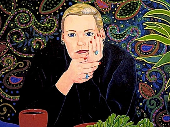 "Jane Caminos, ""48 States,"" oil on canvas self-portrait."