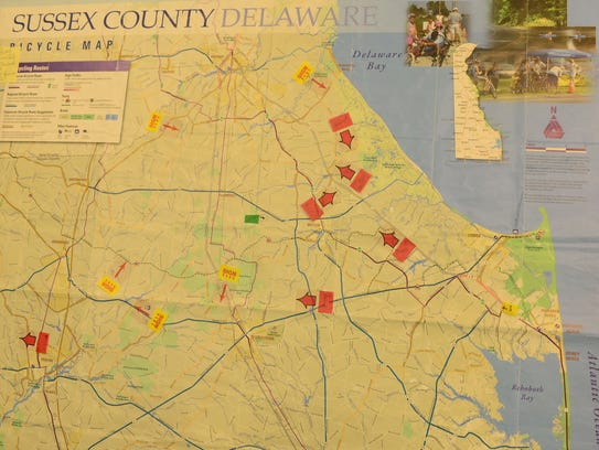 """A map of Sussex County marks the """"no mow"""" locations to help preserve habitat areas where monarch butterflies can stay as they migrate through."""
