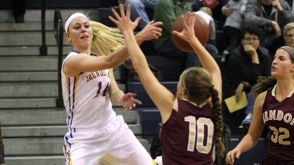 Irondequoit and Savannah Crocetti (14) play at Pittsford Sutherland on Friday night in a matchup of ranked teams.