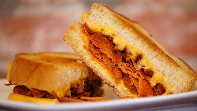 The Tom+Chee grilled cheese bbq bacon sandwich.