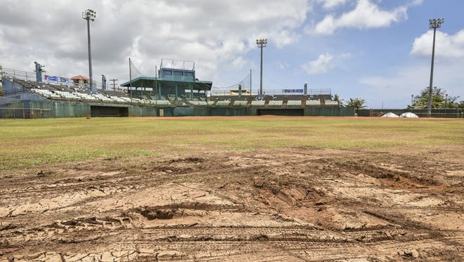 The Paseo Stadium field is seen damaged on June 11 after the Guam Live concert brought hundreds of people to the wet grounds last weekend.