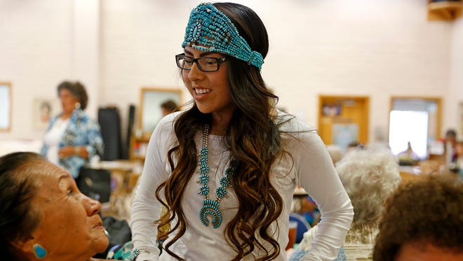 Nicole Smith, the 2015 Farmington American Indian Ambassador, speaks to seniors on June 15 during lunch at the Bonnie Dallas Senior Center in Farmington. Applications for the 2016 Farmington American Indian Ambassador can be submitted starting on Monday.