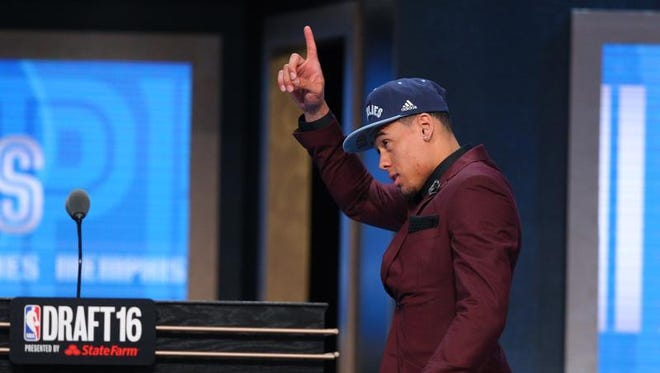 Wade Baldwin IV from Vanderbilt reacts after being selected as 17th overall by the Memphis Grizzlies on THursday.