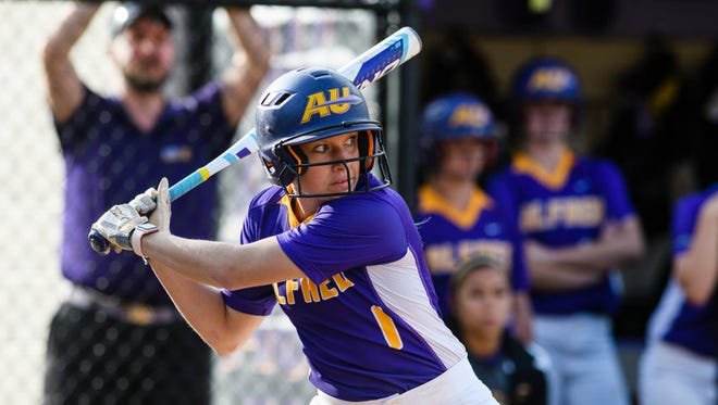 Liz Thompson set numerous school records during her softball career at Alfred University.