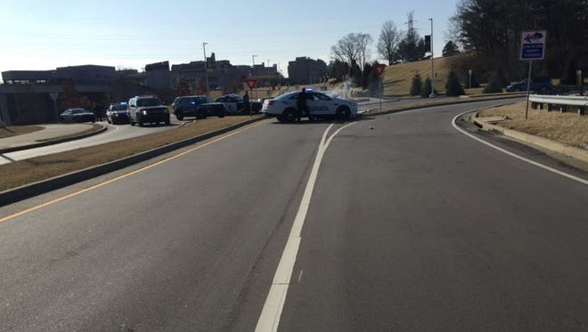 Two people were transported from a crash Tuesday afternoon at a roundabout near Northern Kentucky University.