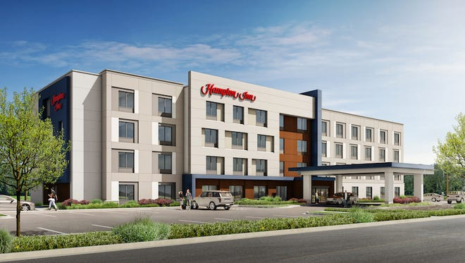 Ashland City Hampton Inn exterior rendering.