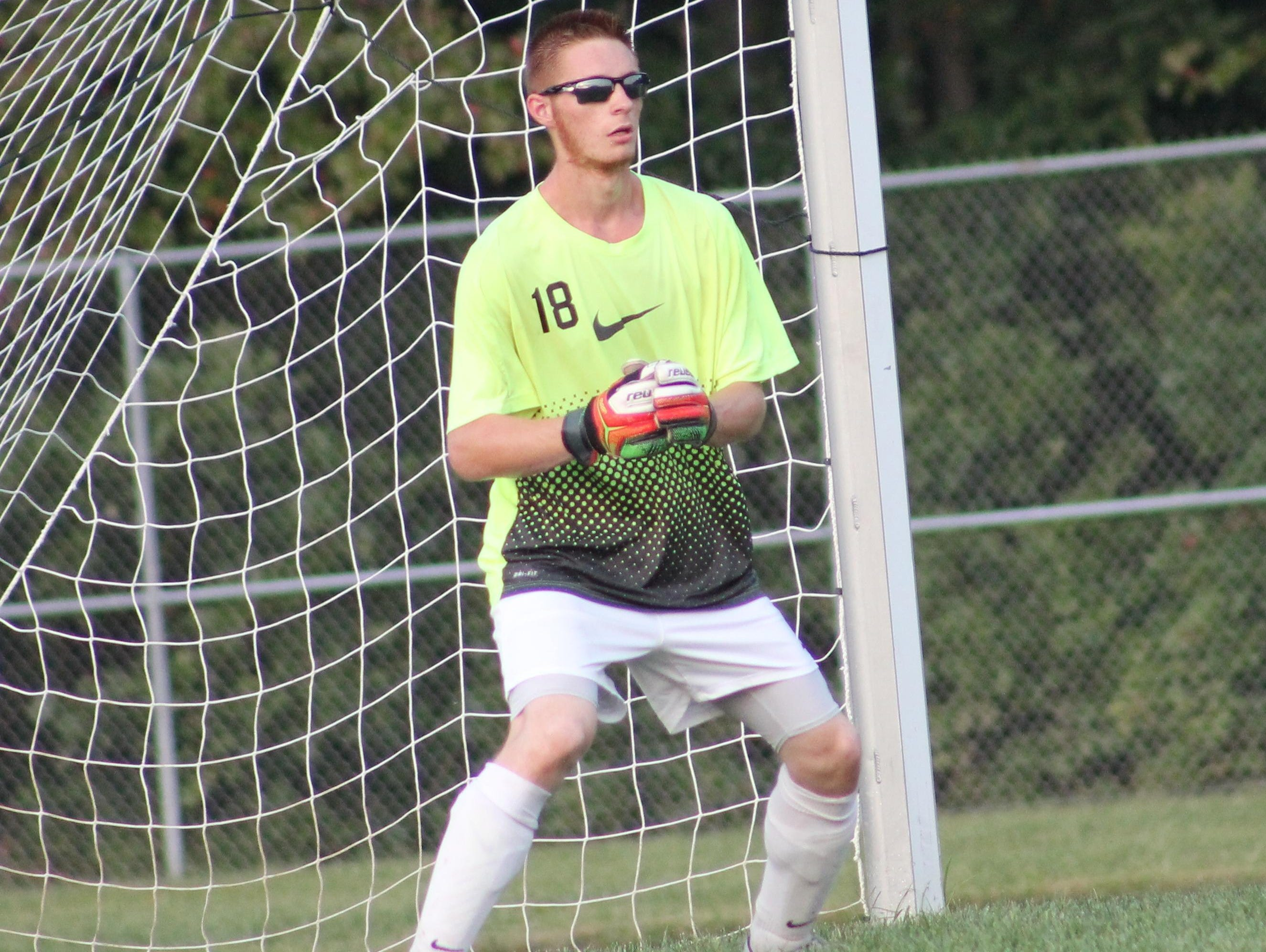 Bethel-Tate's Ian Kimmerly mans the goal during the Tigers' 1-1 tie with Blanchester Thursday.