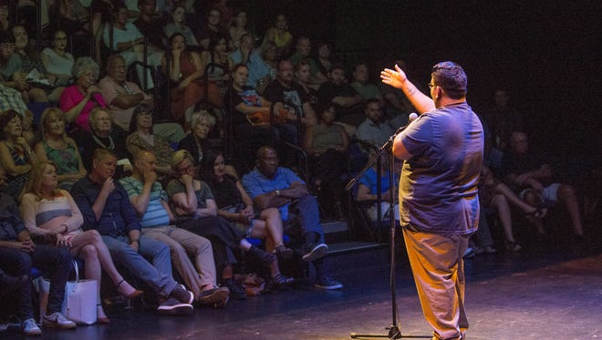 "Nate Romero tells his story during the Storytellers Project ""I am an American"" storytelling event at Phoenix Theatre June 14, 2017."
