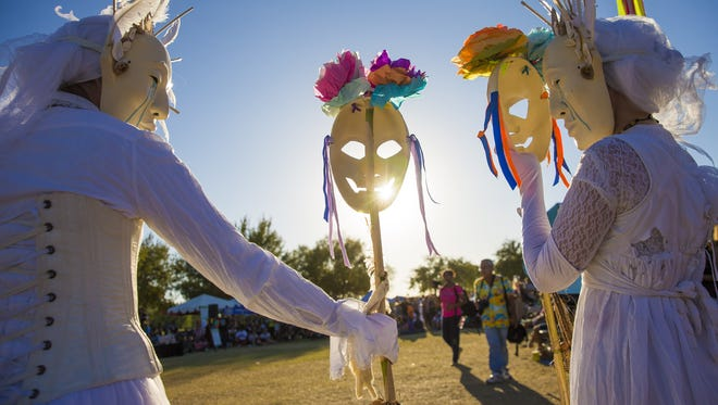 """Artists from the Vessel Project perform """"Niads"""" at the 6th Annual Dia de Los Muertos PHX Festival at Steele Indian School Park in Phoenix Oct. 29, 2017."""