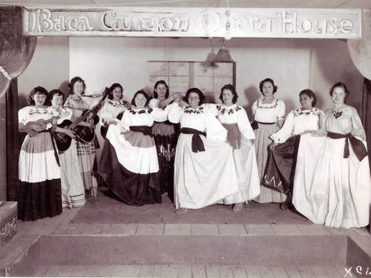 Ramoncita Gurule, my mother, saved several photographs, certificates of attendance, tin craft frames and recipes of her time at Camp Capitan. She is shown in center, back row with sequins on her skirt.