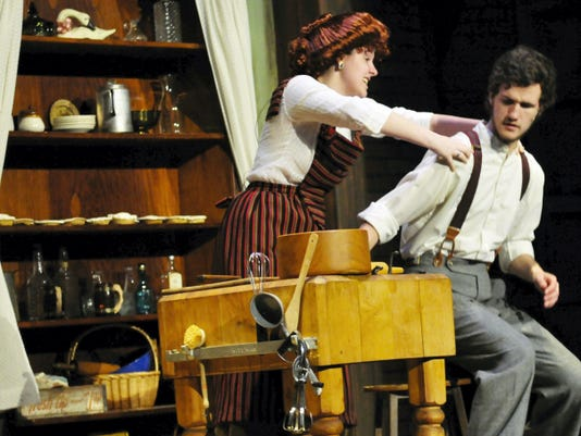 """Sarah Steele played Mrs. Lovett, with Ian Berrier as Sweeney Todd, in the  Chambersburg Area Senior High School production of """"Sweeney Todd,"""" in April. Steele received one of three nominations awarded to CASHS students."""