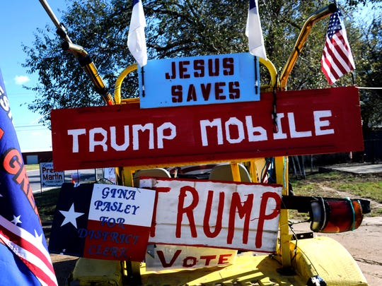 """Bob Terry's """"Trump Mobile"""" parked at the intersection of U.S. 180 and State Highway 70 in Roby Oct. 26."""