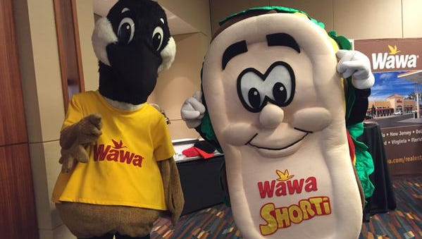 Wawa mascots Wally the Canadian goose and Shorti the Hoagie.