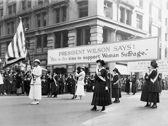 A large suffrage parade in New York City, around 1915.