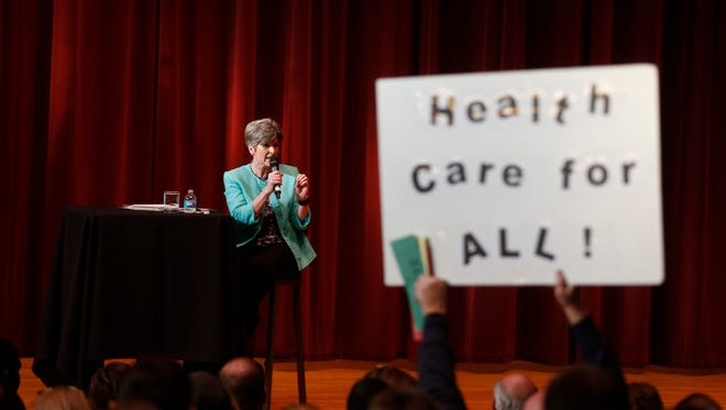 Sen. Joni Ernst answers questions about health care Friday, March 17, 2017, during her Polk Count town hall meeting in Sheslow Auditorium at Drake Universtiy.