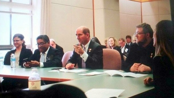 Western New Mexico University President Dr. Joseph Shepard, middle, lobbied for capital requests totaling in 8.4 million dollars, that would be dispersed throughout the university Tuesday in Santa Fe. Expenses would include $6,000,000 toward the renovation of Harlan Hall, the science building, as well as critical campus roof replacements that would total at around 1 million dollars, and an additional 1.3 million toward campus infrastructure.