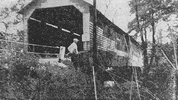 The covered bridge at Grantham station was slated to be replaced in 1955.