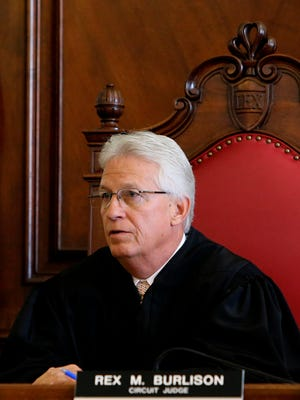 Judge Rex Burlison presides at a 2016 court hearing. Burlison has asked St. Louis  Sheriff Vernon Betts to suspend evictions until the city can process applications for rental and mortgage assistance.