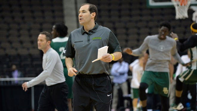 Baylor Bears head coach Scott Drew directs practice before the second round  of the 2015 NCAA Tournament at Jacksonville Veteran Memorial Arena.