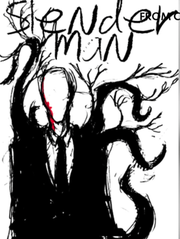 A depiction of the fictional horror character Slenderman.