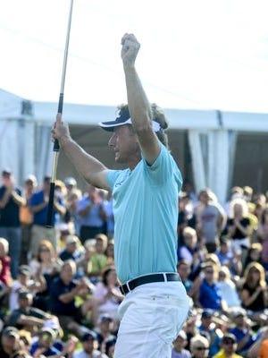 Bernhard Langer celebrates his 23rd career Champions Tour title.