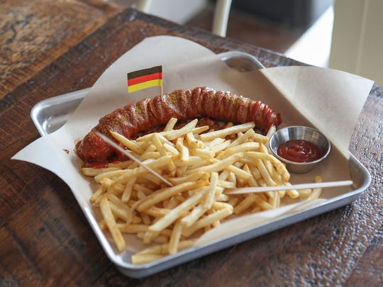 A plate from Ein Brathaus, a German gourmet fast food restaurant in downtown Palm Springs.
