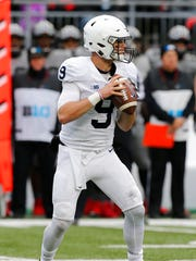Penn State quarterback Trace McSorley drops back to pass against Ohio State during the first half of an NCAA college football game Saturday, Oct. 28, 2017, in Columbus, Ohio. (AP Photo/Jay LaPrete)