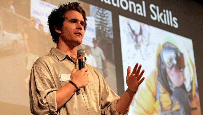 Author and climber Jordan Romero talks about his experiences and his book on Thursday at the Turano-Chrisman Performing Arts Theater at Piedra Vista High School in Farmington.