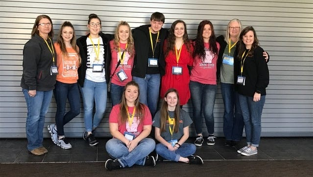 The Calico Rock Senior Beta attended the State Beta Convention and competition Jan. 27-28, in Hot Springs. They competed in various categories, including several academic competitions, talent, photography and the banner competition. Shown are sponsor Melva Brannon, back row, from left, Kenlee Killian, Jaclyn Hamby, Megan Hiles, Kaleb Newcomb, Abby Humphries, Johnna Long, and sponsors Sherry Newcomb and April Killian. Also, front, Falon Shrake and Kallie Fry.  Humphries competed in the special talent competition and won first place and Kenlee Killian competed in the Visual Arts-Photography competition, placing second.  This qualifies them for national competition this summer in Orlando, Fla.
