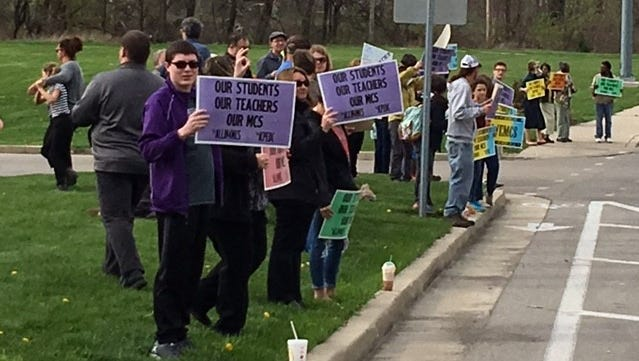 A rally for Muncie Community Schools last year took part at Central High School before a school board meeting convened.