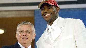6/26/03 --NY, NY--  LeBron James, from St.Vincent-St. Mary HS, the 1st pick at the NBA Draft in NYC Thursday. Photo by Robert Deutsch, USA Today ORG