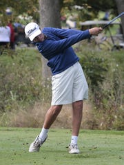Sam Gosiger of Summit Country Day tees off for the
