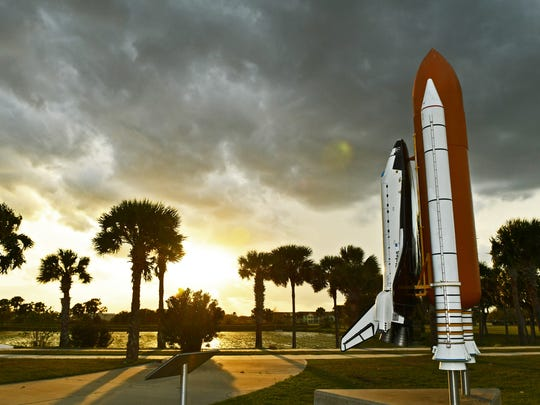 A scale model of the space shuttle is one of the landmarks at the Space Coast Stadium in Viera.