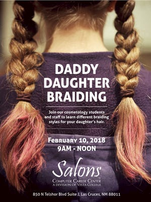 Cosmetology students and staff of Computer Career Center will teach fathers different braiding techniques to do on the daughters.