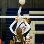 Billings Senior's Taylor Mims spikes the ball during the Electric City Invite earlier in the fall. Mims is joined by eight other prep volleyball standouts on this season's Tribune Super-State team.