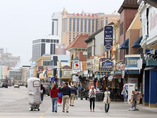 The view of the Atlantic City Boardwalk looking South.